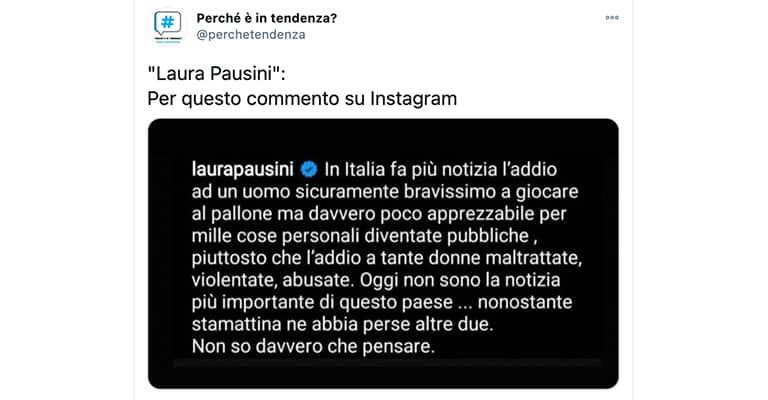 Commento di Laura Pausini su Twitter