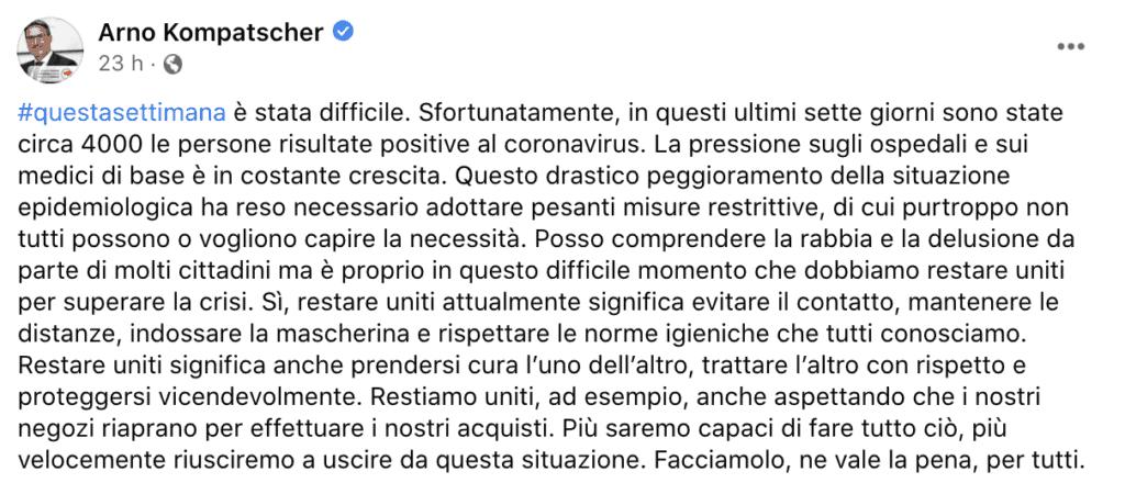 Il post su Facebook di Arno Kompatscher