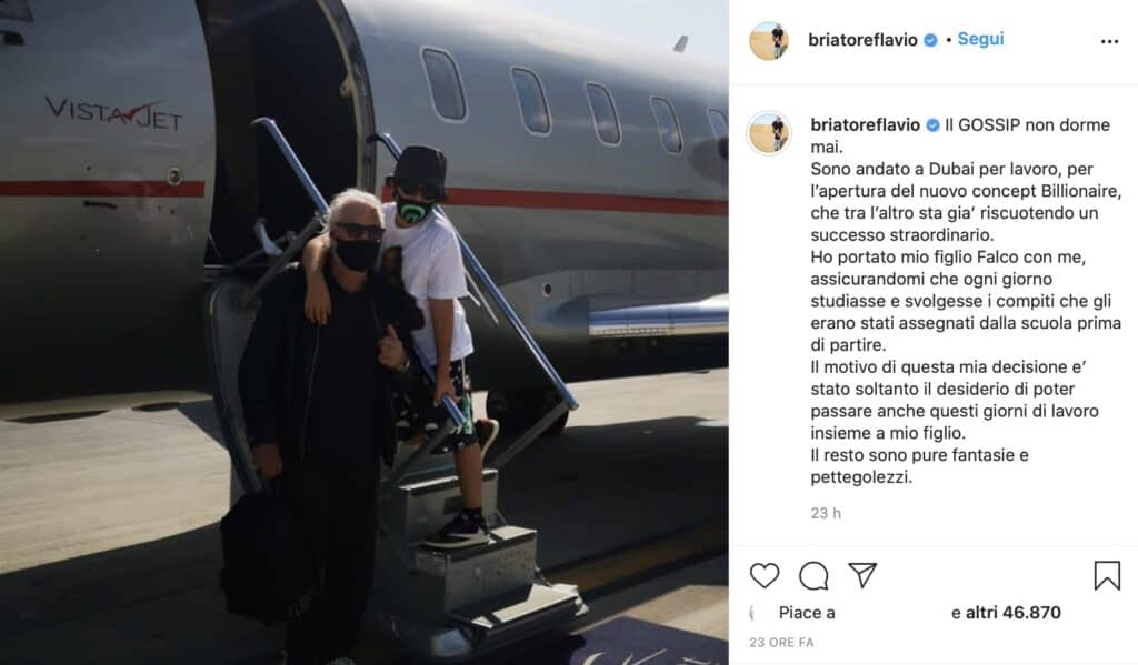 Il post Instagram di Flavio Briatore