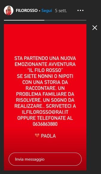 Paola Perego, Instagram Il Filo Rosso
