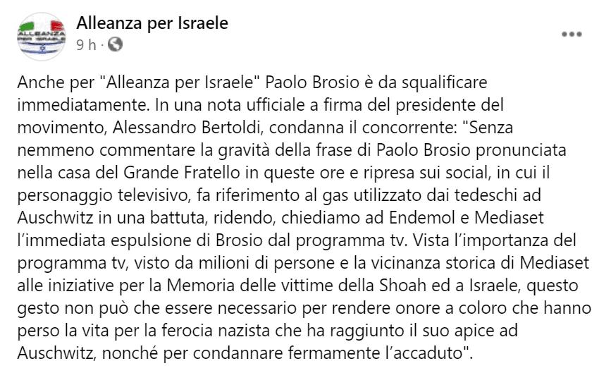 Post pubblicato dalla pagina Facebook 'Alleanza per Israele' per commentare la frase pronunciata da Paolo Brosio in cui faceva ironia su Auscwitz