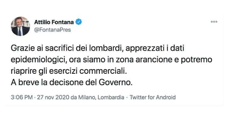 I tweet di Attilio Fontana