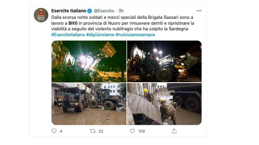 Il Tweet dell'Esercito Italiano su Bitti