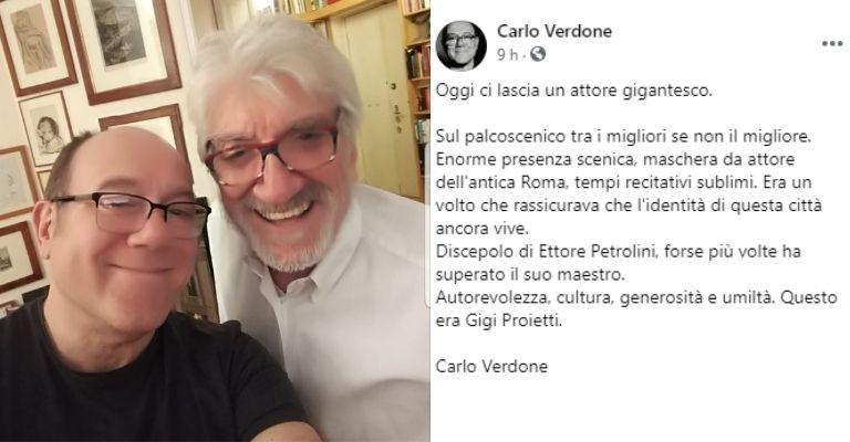 Carlo Verdone dà l'addio a Proietti