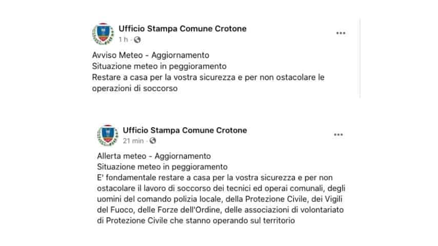 Gli aggiornamenti del Comune di Crotone sui social