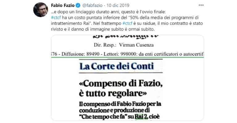 Il tweet di Fabio Fazio sul suo stipendio