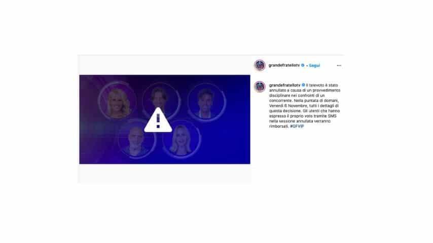 il post sul profilo instagram del gf vip