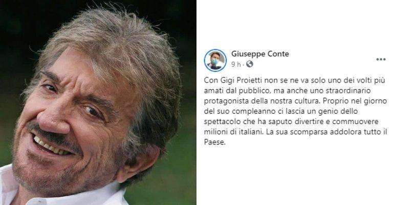 Il messaggio di Conte per Gigi Proietti