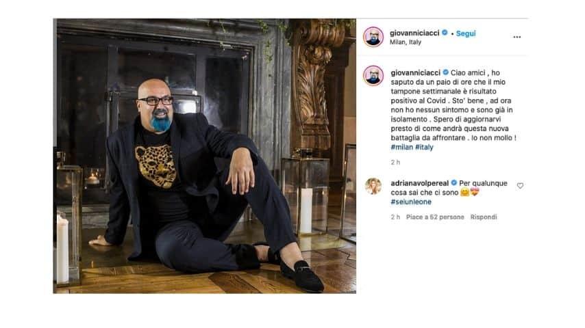 Giovanni Ciacci annuncia su Instagram di essere positivo al covid