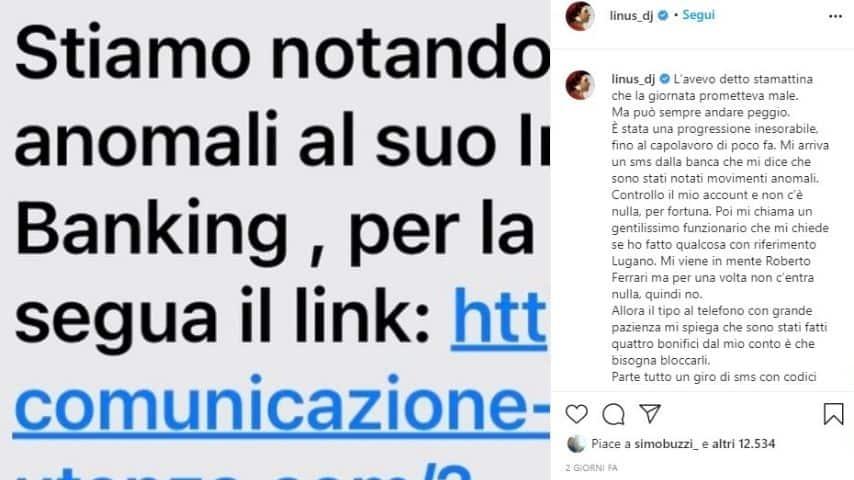 Il post di Linus su Instagram per denunciare la truffa subita