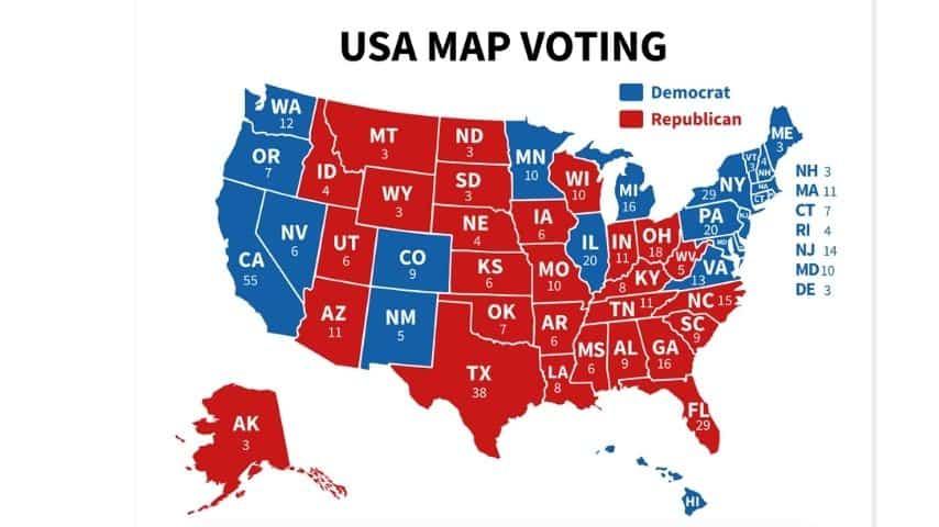 Un esempio di mappa degli Stati Uniti con i numeri dei Grandi Elettori.  Non si tratta di un prospetto reale Shutterstock