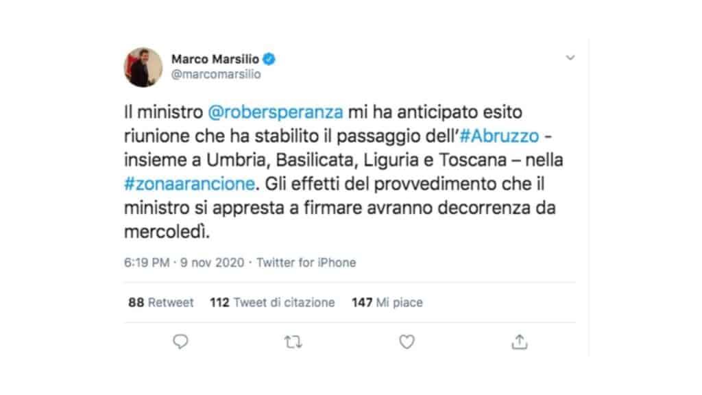 tweet di marco marsilio