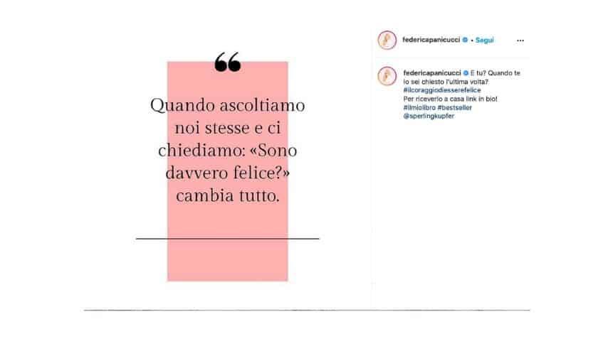 Federica Panicucci presenta il libro in un post su instagram