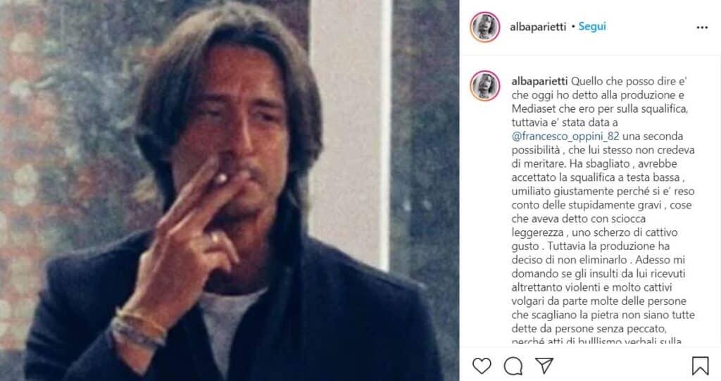 Alba Parietti, post instagram