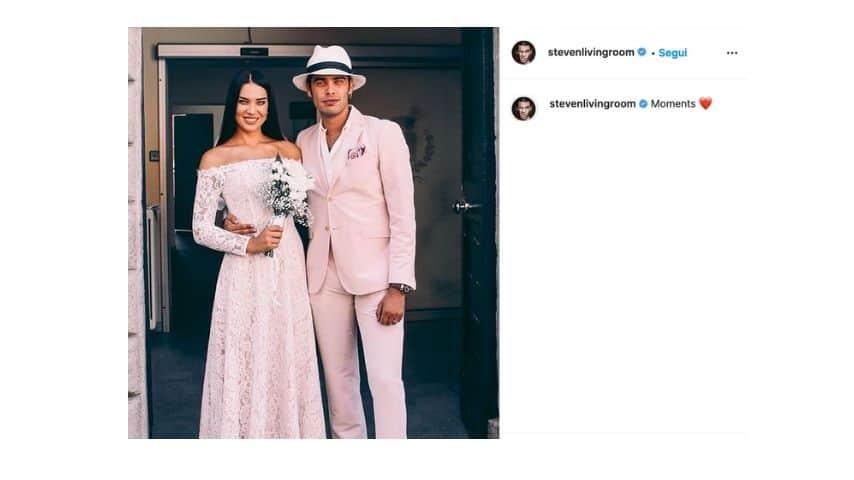 Stefano Sala e Dasha Deverikina nel giorno delle nozze
