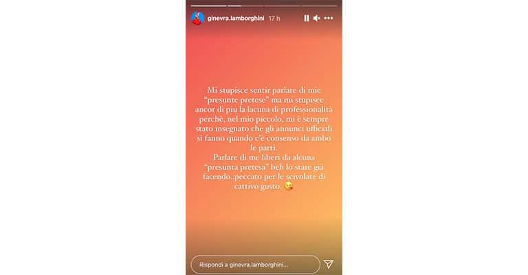 Instagram story di Ginevra Lamborghini