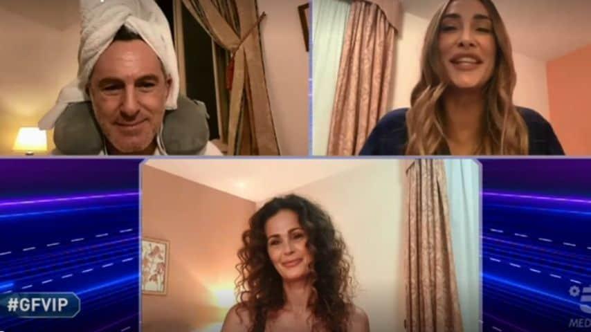 Samantha De Grenet, Filippo Nardi e Sonia Lorenzini in video-collegamento con il GF Vip