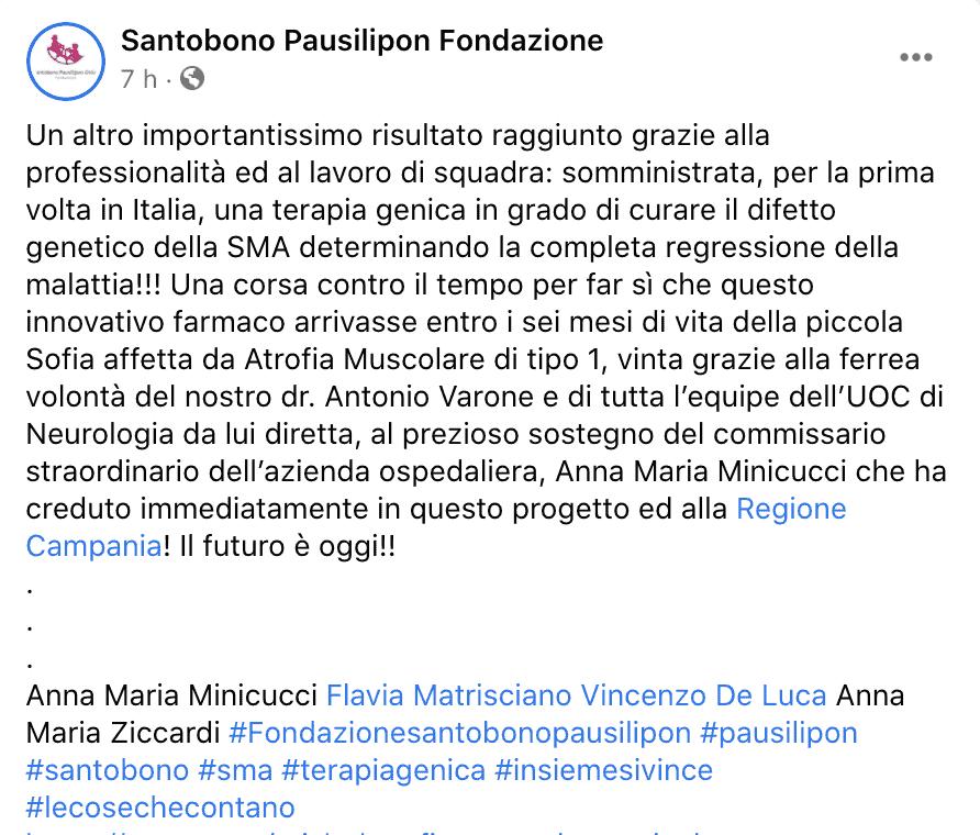 Il post dell'ospedale Santobono di Napoli