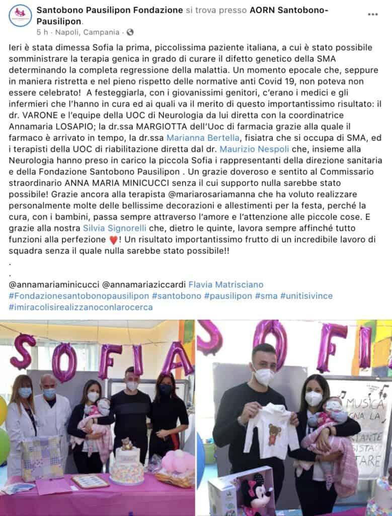 I festeggiamenti al Santobono per la cura della piccola Sofia