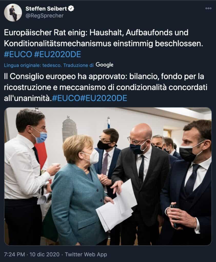 Il tweet del portavoce di Angela Merkel Steffen Seibert