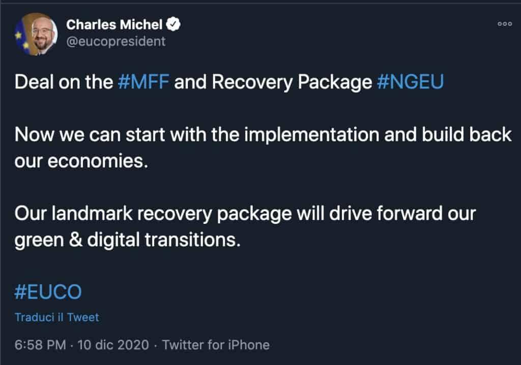 Il tweet del presidente del Consiglio europeo Charles Michel