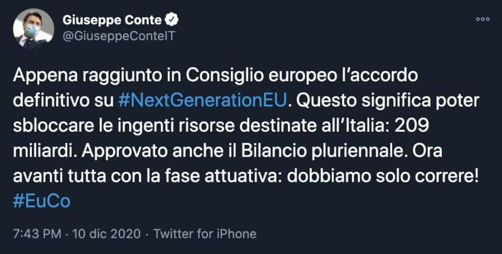 Il tweet del presidente del Consiglio Giuseppe Conte