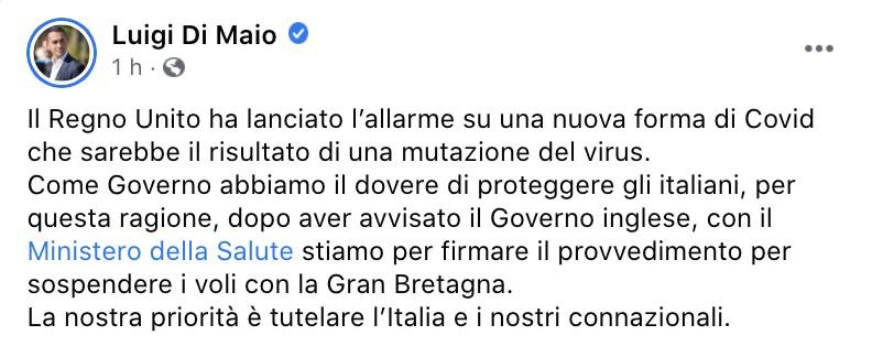 Il post Facebook di Luigi Di Maio