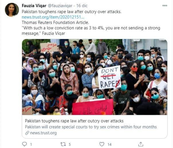Post su Twitter dell'esperta pakistana Fauzia Viqar