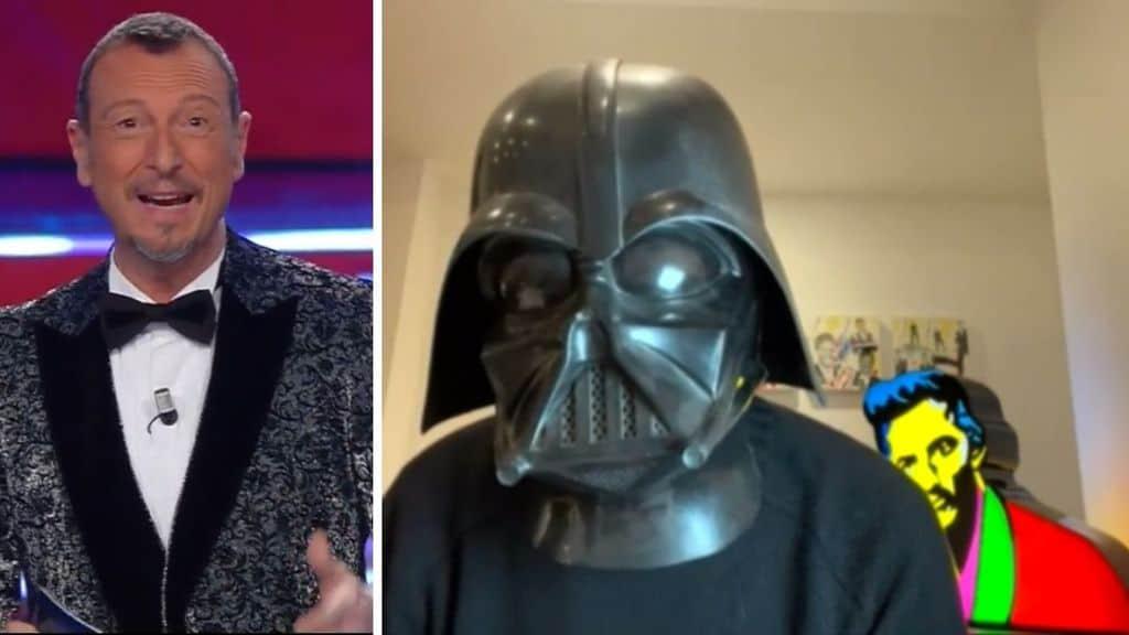Fiorello mascherato da Darth Vader invade Sanremo Giovani