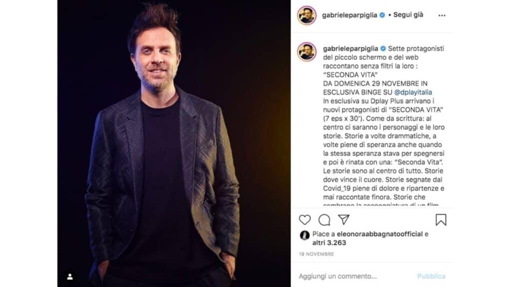 gabriele parpiglia seconda vita post instagram