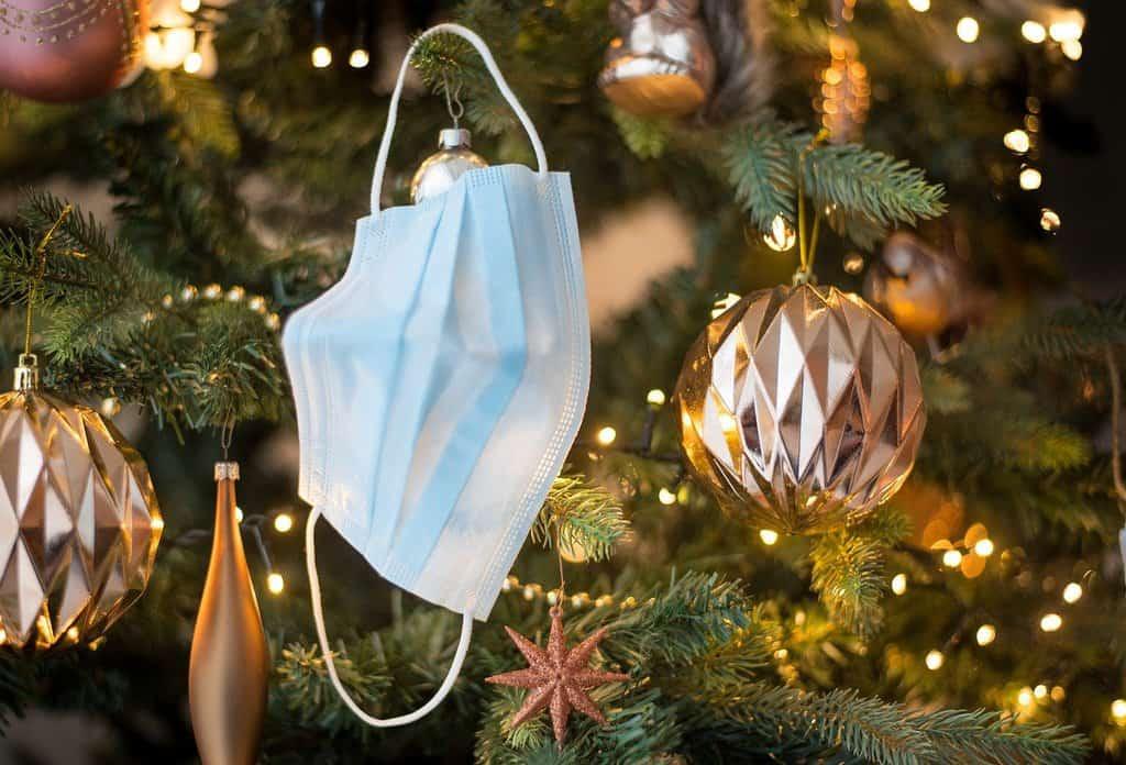 Mascherina su albero di Natale