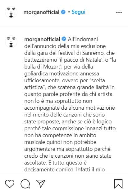 Il post instagram di Morgan