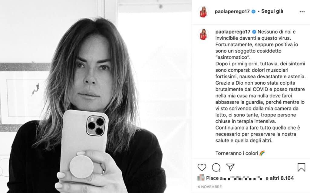 Il post Instagram di Paola Perego