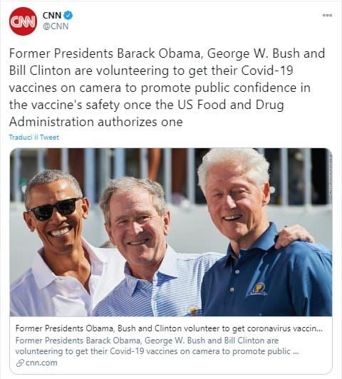 Tweet pubblicato dalla CNN sulla decisione dei 3 ex presidenti americani, Obama, Bush e Clinton, di vaccinarsi pubblicamente