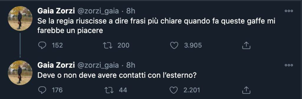 Il tweet di Gaia Zorzi