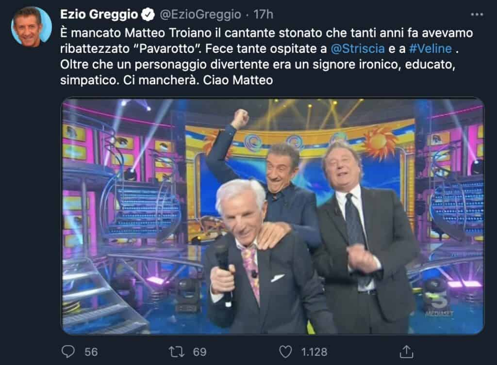 Il tweet di Ezio Greggio