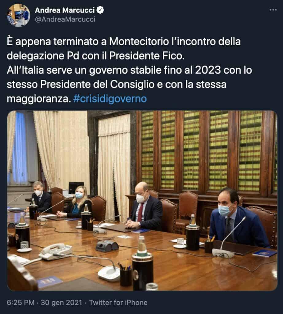 Il tweet di Andrea Marcucci, capogruppo del PD in Senato