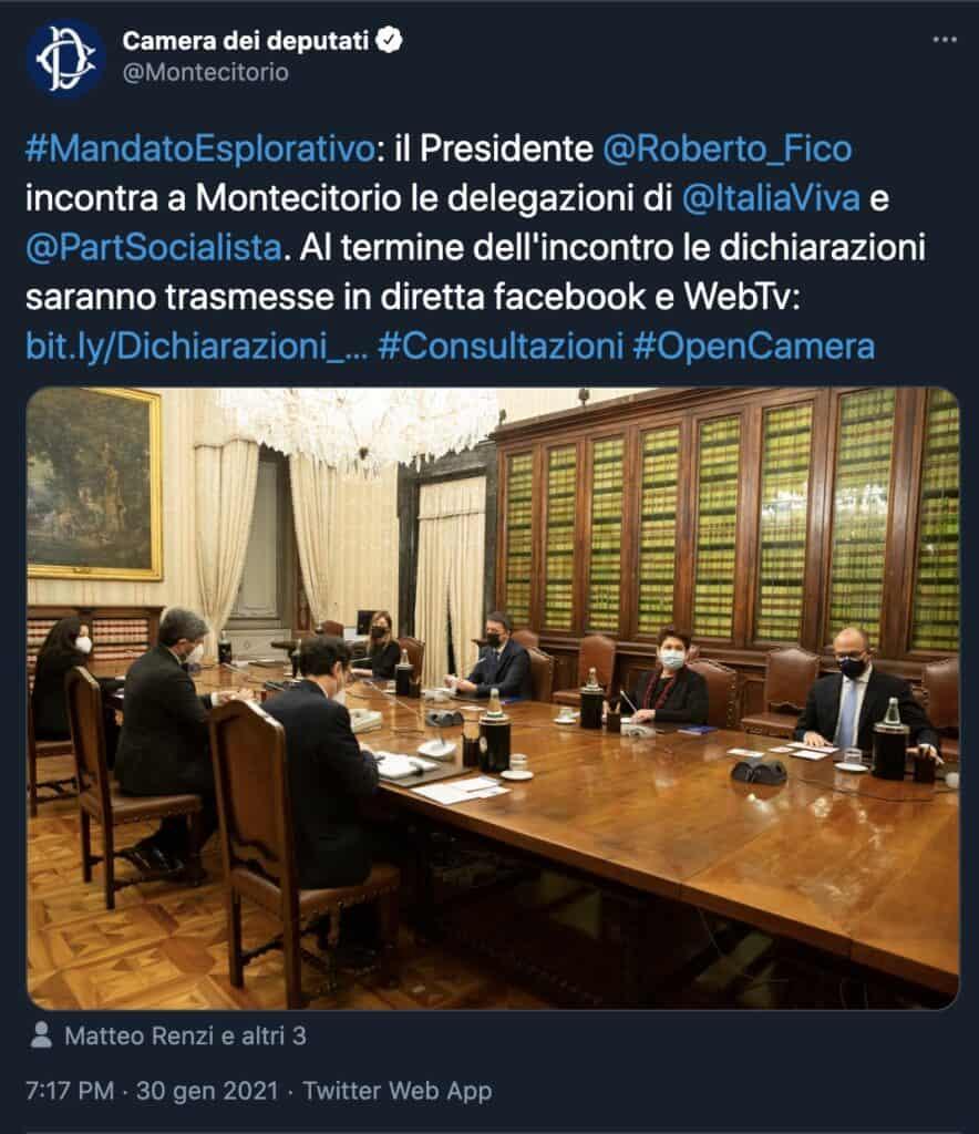 Il tweet della Camera dei Deputati
