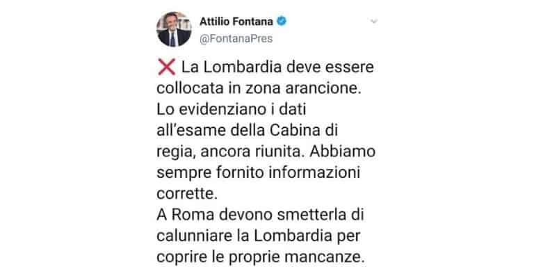 Attilio Fontana sulla Lombardia in zona arancione