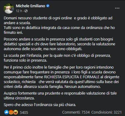 Michele Emiliano, il post su Facebook
