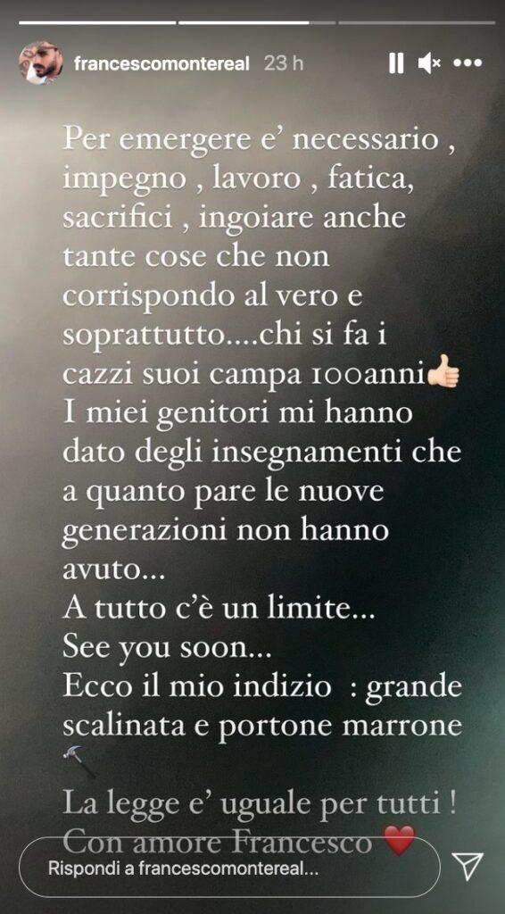 Francesco Monte, messaggio su iG