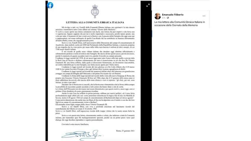 La lettera pubblicata da Emanuele Filiberto