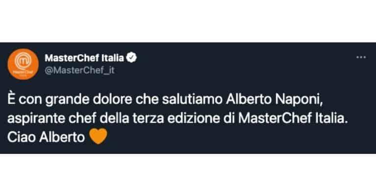 L'addio di Masterchef ad Alberto Naponi