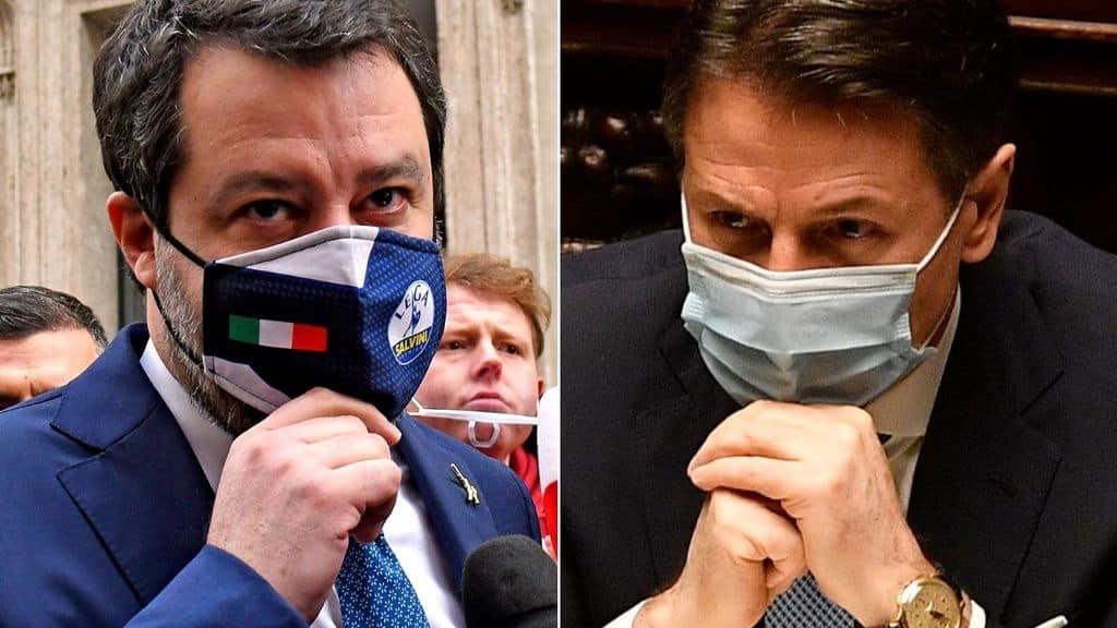 Matteo Salvini replica a Giuseppe Conte in Senato