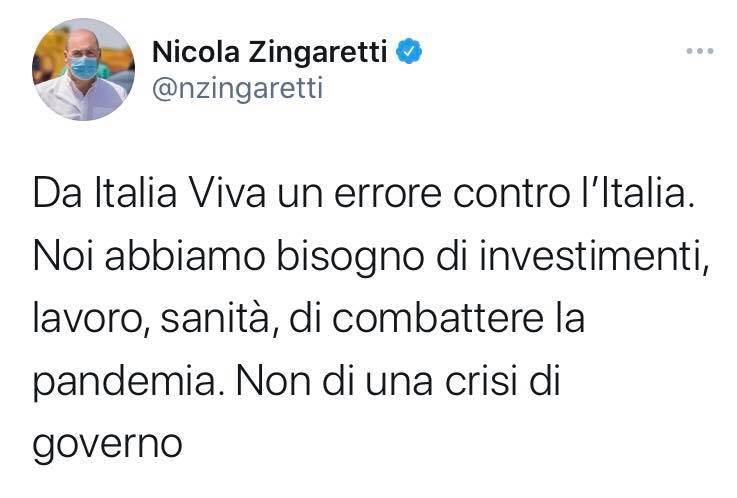 Il post di Nicola Zingaretti su Renzi