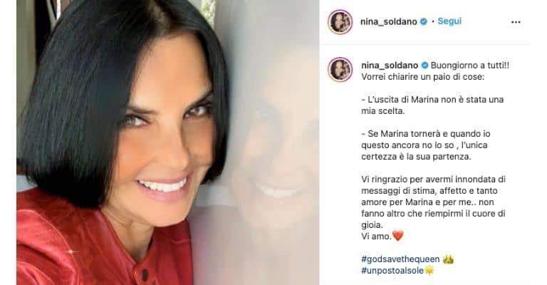 Nina Soldano sull'addio a Marina Giordano