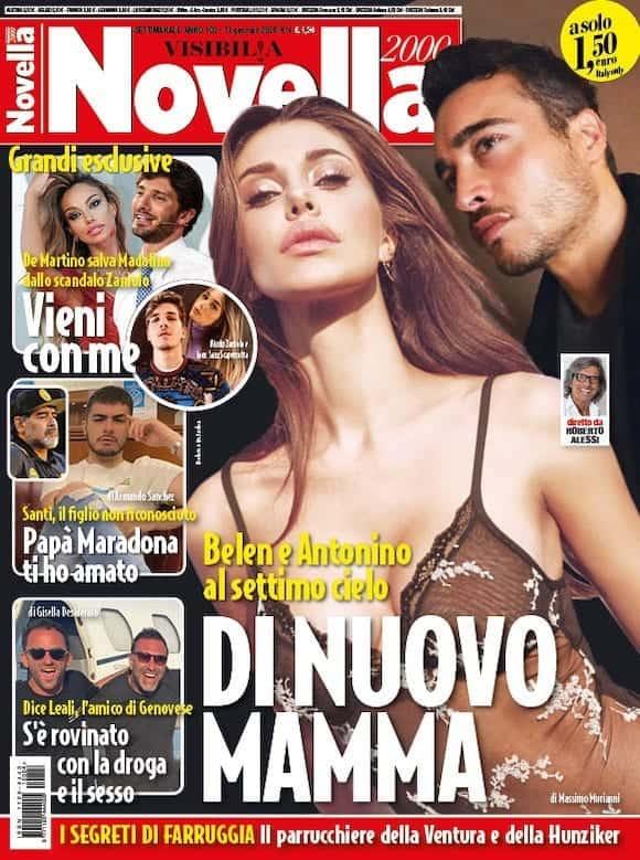 La copertina di Novella 2000 su Belen incinta