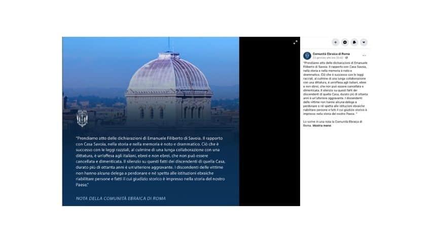 Il post della comunità ebraica di Roma