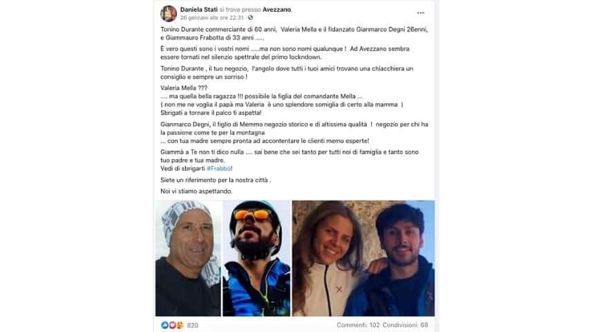 Gli escursionisti scomparsi sul monte Velino