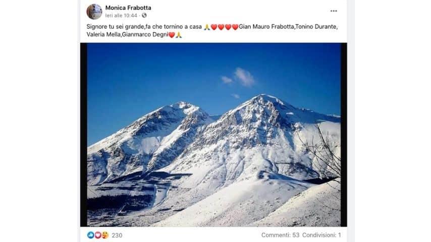 Tweet del soccorso alpino sugli scomparsi sul Velino